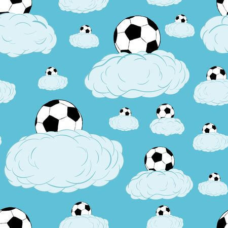 creatively: Seamless texture with soccerballs on clouds in the sky