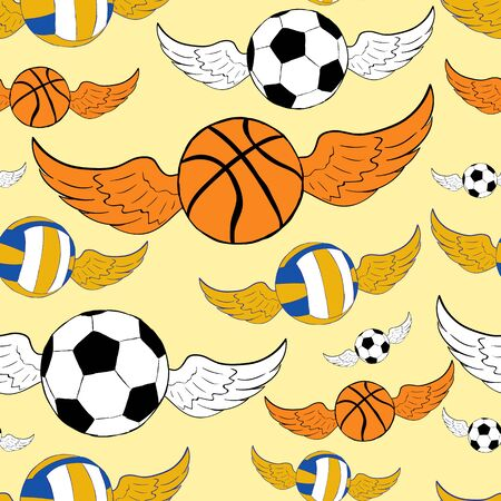 winged: Seamless texture with winged volleyball football and basketballs