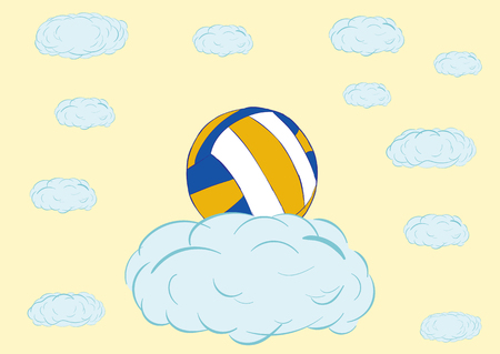 absurd: Classical volleyball on a blue cloud in the sky Illustration