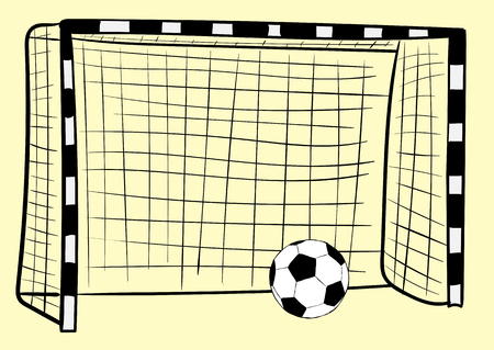 soccerball: Football goal and classical black-and-white soccerball on a light