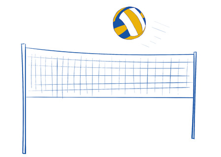 negligent: Volleyball network and the volleyball flying ball Illustration