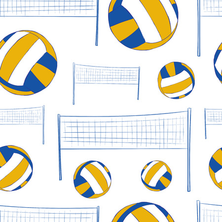 negligent: Seamless texture with volleyballs and a network