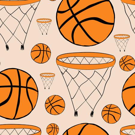 canestro basket: Seamless con anelli di basket e palline