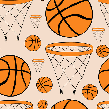 basketball game: Seamless texture with basketball rings and balls Illustration