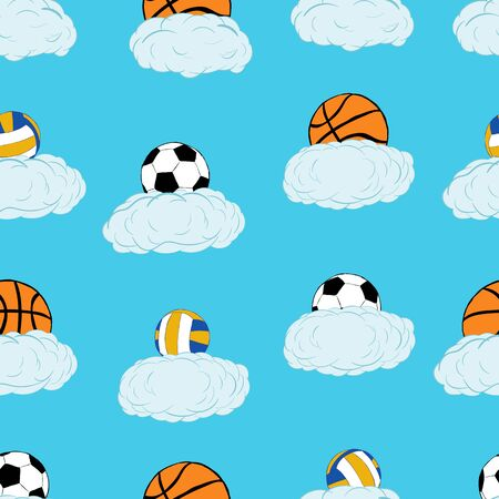 Seamless texture with football volleyball and basketballs on clouds
