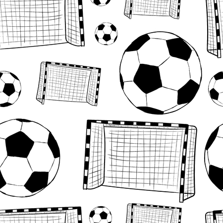 soccer background: Seamless texture with a football goal and balls