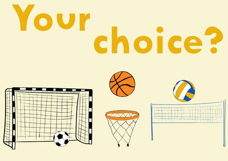 attributes: Illustration with attributes of soccer of volleyball and basketball with balls