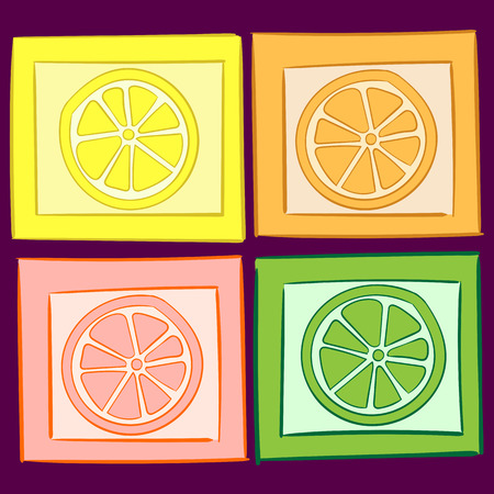 citrus fruit: Four color citrus fruit in squares the sketch Illustration