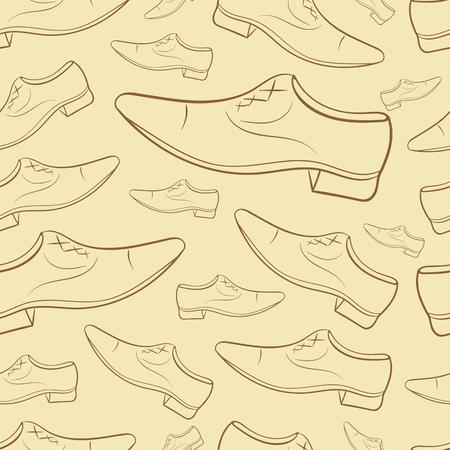 konturen: Nahtlose Textur mit braunen Herren-Schuhe Konturen