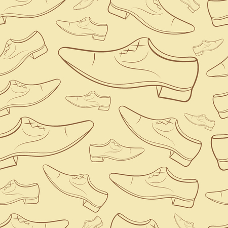 contours: Seamless texture with brown mens shoes contours
