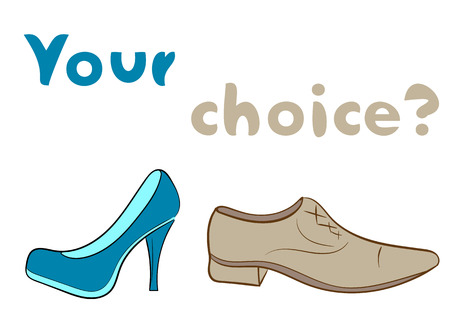 Choice of male or female of footwear conceptual illustration Illustration