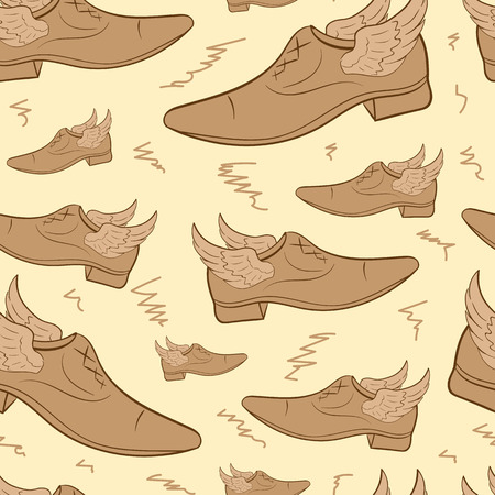 brown: Seamless texture with brown winged mens shoes
