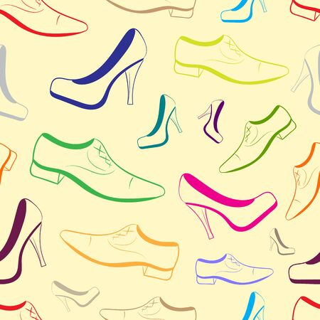 contours: Seamless texture with color contours of male and female shoe Illustration