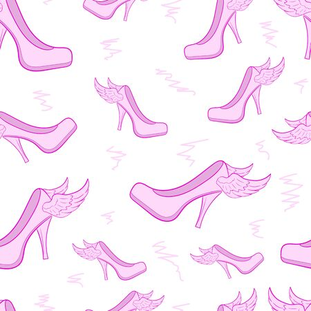 women's shoes: Seamless texture with pink winged womens shoes