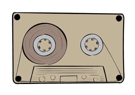 audio cassette: Illustration with the brown old audio cassette