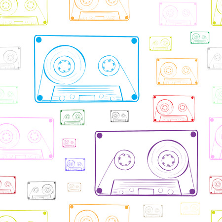 contours: Seamless texture with multi-colored contours of audio cassettes