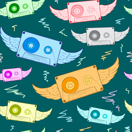 winged: Seamless texture with color winged audio cassettes Illustration