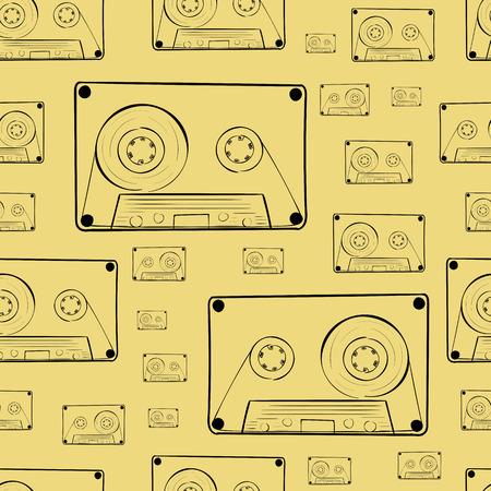 contours: Seamless texture with black contours of audio cassettes