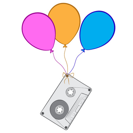 audio cassette: Conceptual illustration with the old audio cassette on balloons