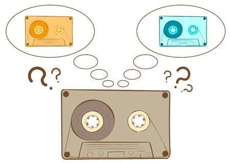 audio cassette: Conceptual illustration the sketch of the dreaming audio cassette