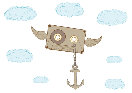 audio cassette: The winged audio cassette with an anchor in the sky
