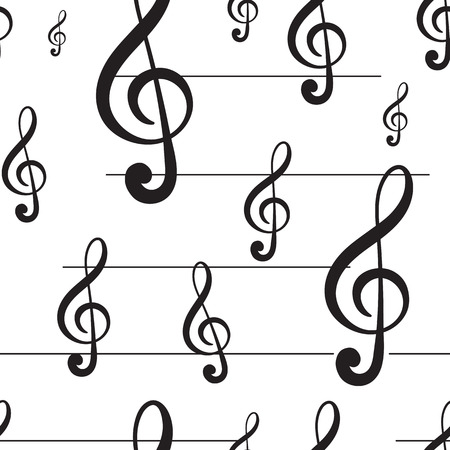 usual: Seamless texture with black treble clefs and lines Illustration