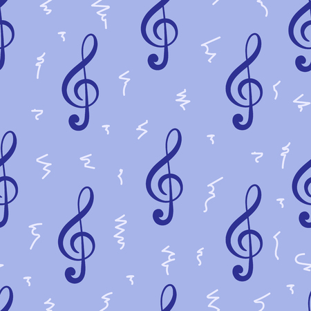clefs: Seamless texture with black treble clefs on a violet background Illustration