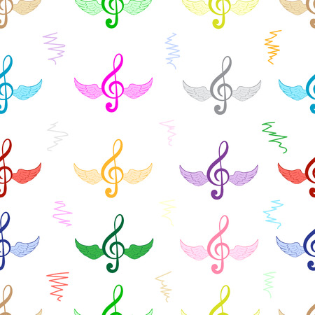 clefs: Seamless texture with winged color treble clefs Illustration