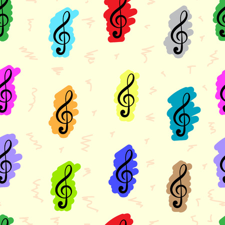 clefs: Seamless texture with the painted multi-colored treble clefs Illustration