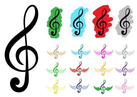 clefs: Conceptual illustration with various multi-colored treble clefs Illustration