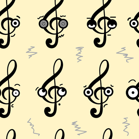 Seamless texture with emotional treble clefs with a different look