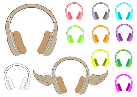 earphones: Clipart with various multi-colored winged earphones and a contour