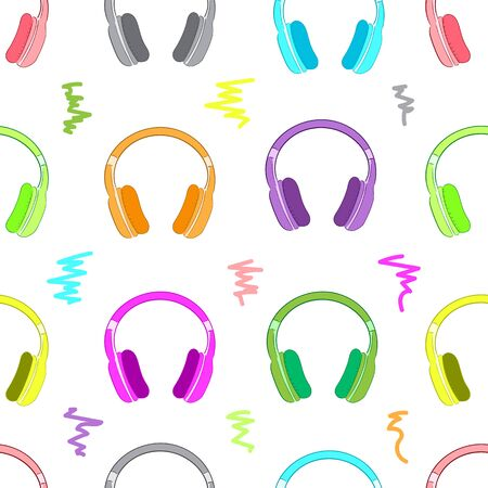 earphones: Seamless texture with color earphones and curves