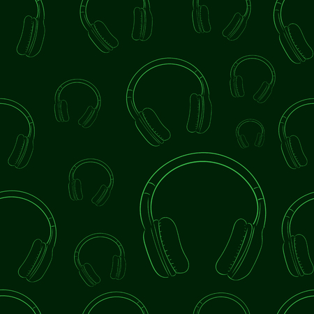 contours: Seamless texture with green contours of earphones