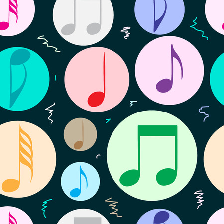 quarter note: Seamless texture with color music notes in circles Illustration
