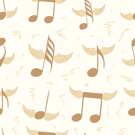 winged: Seamless texture with brown winged music notes Illustration