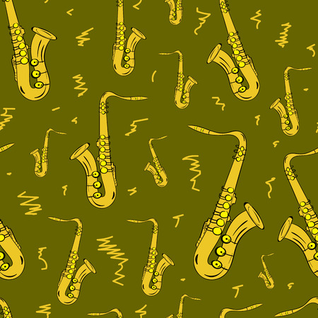 tenor: Seamless texture with yellow saxophones and flourishes Illustration