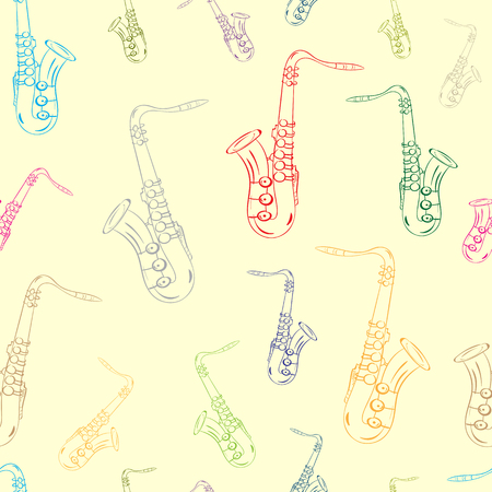 tenor: Seamless texture with color contours of a saxophone