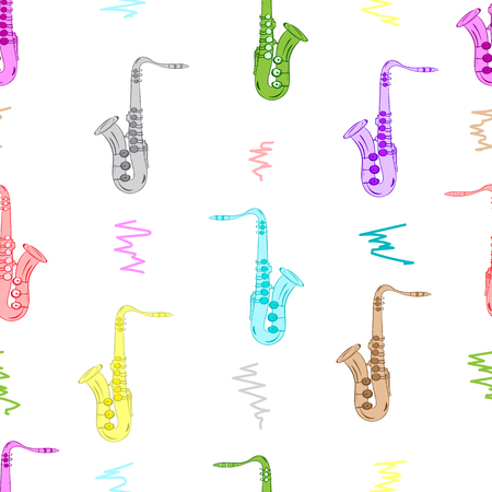 tenor: Seamless texture with color saxophones on the white