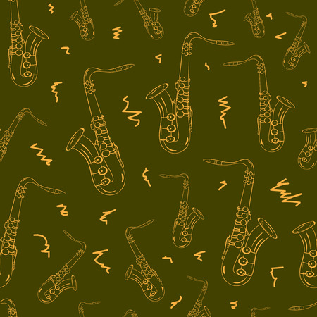 contours: Seamless texture brown contours of saxophones and flourishes