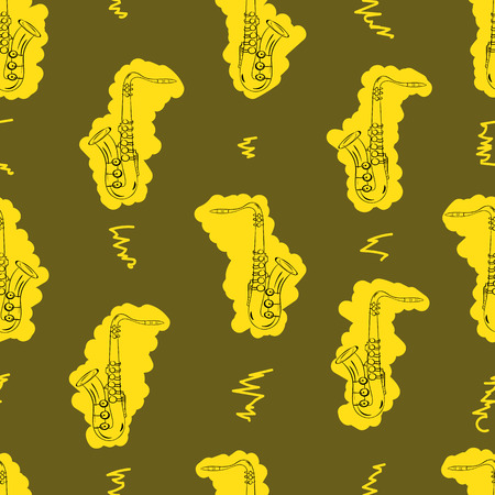 tenor: Seamless texture with the golden painted saxophones