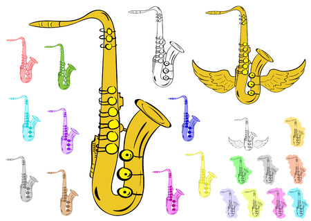 tenor: Clipart with various color contours and saxophones