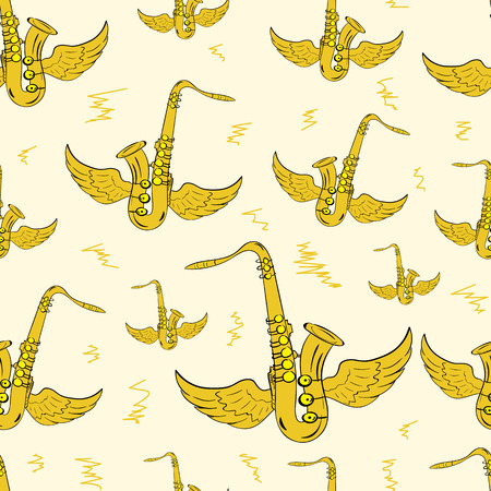 tenor: Seamless texture with color winged brown saxophones Illustration
