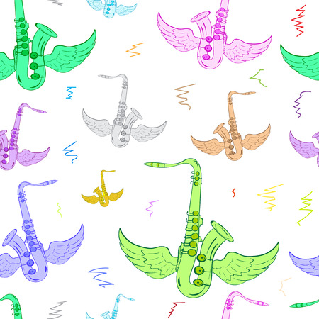 saxophones: Seamless texture with color winged conceptual saxophones