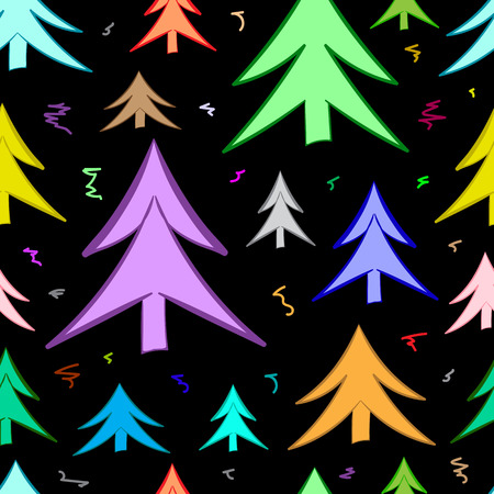firtrees: Seamless texture with color fir-trees and curls