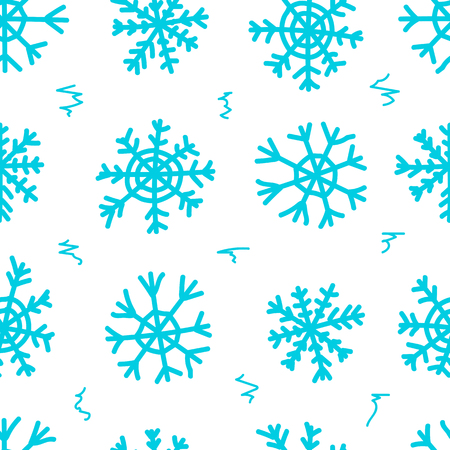 negligent: Seamless texture with blue negligent snowflakes on the white