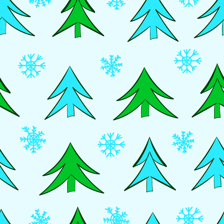 firtrees: Seamless texture with green and blue fir-trees and snowflakes Illustration