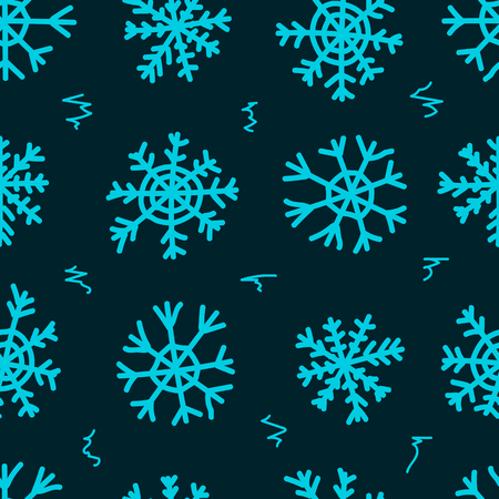 negligent: Seamless texture with blue negligent snowflakes on the dark