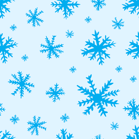 negligent: Seamless texture with blue negligent snowflakes on the blue
