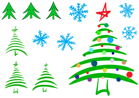 firtrees: Clipart with various sketches of fir-trees and Christmas trees and snowflakes
